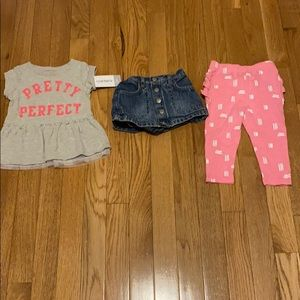Shirt is 6 mo. Skirt is 3-6 mo. Pants are 6-9 mo.